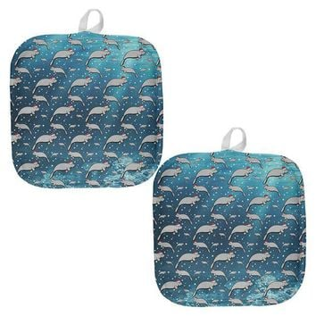 DCCKIS3 Christmas Manatee Floaty Potato Pattern All Over Pot Holder (Set of 2)