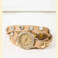 Spare Time Leather Watch in Khaki