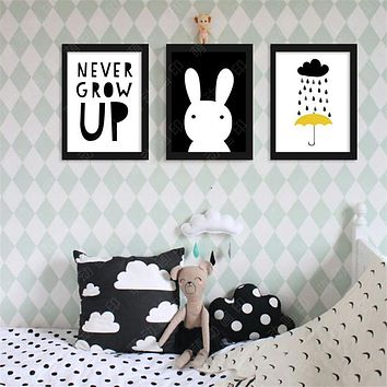ZN M4 Never grow up rabbit cloud rain back Digital Poster Canvas Picture Wall Art Oil Paintings Quadro Nursery Kids Room Decor