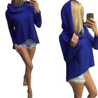 Women's Pure Color Hoodies High Quality long-sleeved Casual Irregular Design hooded hoody 4 Colors