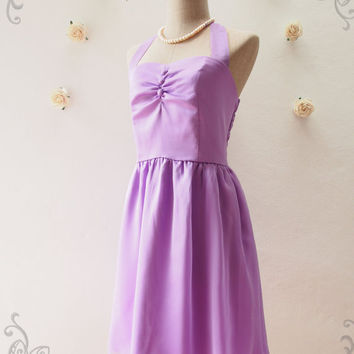 BLOOM : Purple Dress Purple Cocktail Dress Fancy Purple Bridesmaid Dress Party Dress Wedding Prom Dress -Size XS,S,M,L,XL, Custom