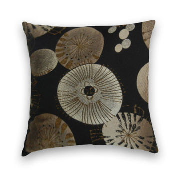 Beautiful Decorative Pillow Cover--20 x 20--Woven Throw Pillow--Black with Gold, Silver