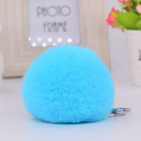 8CM Genuine rex Rabbit fur ball Silver color keychain cute Car key ring Bag Pendant fur pom fluffy key chains