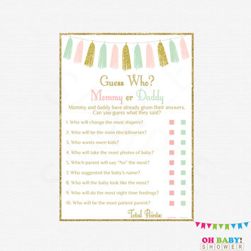 He Said She Said Baby Shower Game Girl Boy, Pink Mint Gold Baby Shower Games, Mommy or Daddy Game, Instant Download, Printable Sign TASPMG