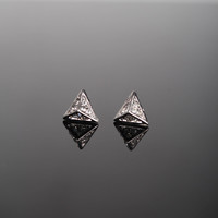 Triangle Stud Earrings - Silver
