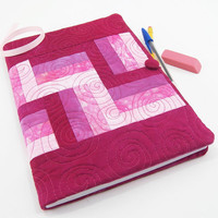 Pink Composition Notebook Cover, Ombre Journal, Reusable Diary in Hand Dyed Cotton