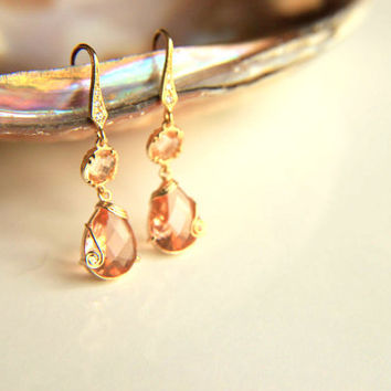 Earrings:Gold plated metal champaign colored crystals, gold plated hooks hooks gift for wedding, #jewelry #earrings #bridesmaid #wedding #zi