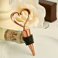 Vintage Copper Heart Wine Bottle Stopper Favors