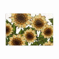 "Art Love Passion ""Sunflower Field"" Beige Yellow Aluminum Artistic Magnet"