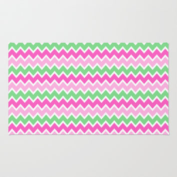 Green Pink Ombre Chevron Area & Throw Rug by decampstudios