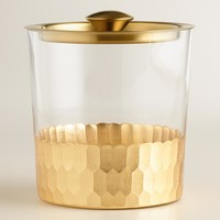 Gold Metal and Glass Ice Bucket with Lid