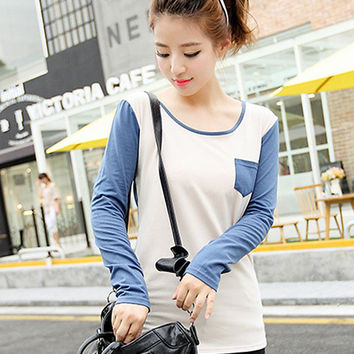 Long Sleeve Single Pocket T-Shirt