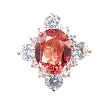 A Vintage 14K Rose Gold 3.85CT Oval Cut Pink Padparadscha Sapphire Engagement Ring