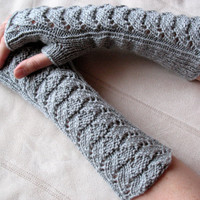 Long Fingerless Gloves Gray Arm Warmers Mittens by Initasworks