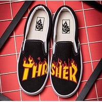 vans x thrasher slip on canvas old skool flats shoes sneakers sport shoes  number 1