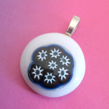White Blue Pendant, Fused Glass Pendant, Round Pendant, Omega Slide, Fashion Jewelry - Bouquet - 2793 -3