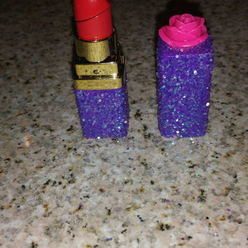 Glitter bling purple iridescent lipstick lighter. Refillable.
