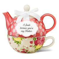 """I Smile Because You're My Mother"" Tea for One Set"