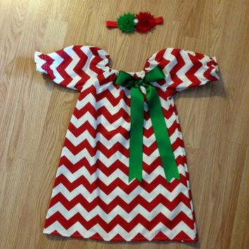 Christmas outfit, Christmas Dress red chevron green ribbon bow red chevron tie brother sister girl toddler baby 12m - 7/8