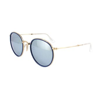 Ray-Ban Sunglasses Round Folding 3517 001/30 Gold Silver Flash Mirror