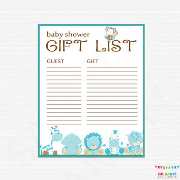 Safari Baby Shower Gift List - Printable Gift List Baby Shower Gifts - Boy Baby Shower / INSTANT DOWNLOAD / PRINTABLE / Blue - BS0001-B