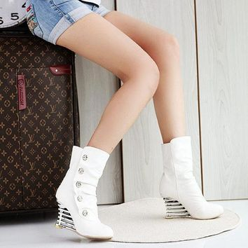 DCCK0OQ On Sale Hot Deal Rhinestone High Heel Stylish Korean Hollow Out Wedge White Boots [9432963786]