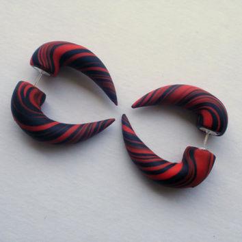 Liquid Hot Magma Fake Gauge Taper Earring  Red  by deceptions