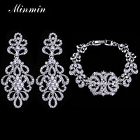 Minmin Top Selling Bridal Jewelry Sets Amazing Design Fashion Bracelet Earrings Pendant  for Women Wedding Accessory EH177+SL040