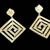 Cut Out Greek Key Earrings Hammered Gold Tone Clip On Huge