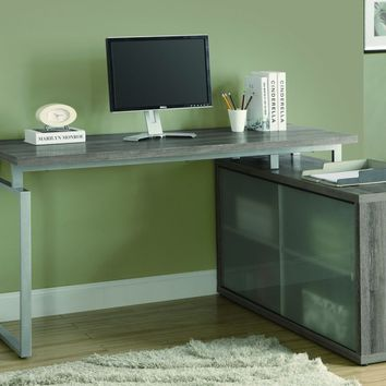 """Dark Taupe Reclaimed-Look """"L"""" Shaped Desk / Frosted Glass"""