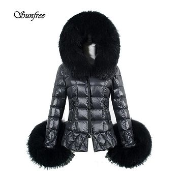 Sunfree 2017 New Winter Women's Down Cotton Parka Fur Collar Hooded Coat Quilted Jacket Brand New High Quality Dec 21