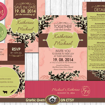 Wedding Invitation Bundle  - Rustic Vintage Floral - Printable Wedding Invite, RSVP, Details, Save the Date -  Customizable text