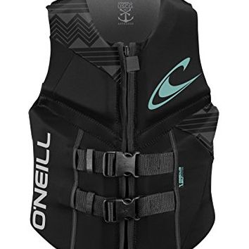 O'Neill Wetsuits Wake Waterski Womens Reactor USCG Life Vest, . Black/Black/Black , 8