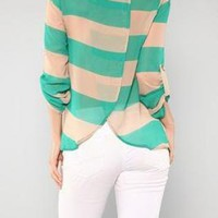 Green and Taupe Striped Chiffon Blouse
