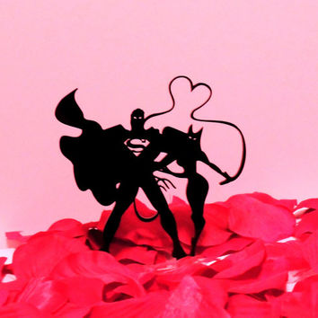 Superman and Catwoman Whip of Love Cake Topper