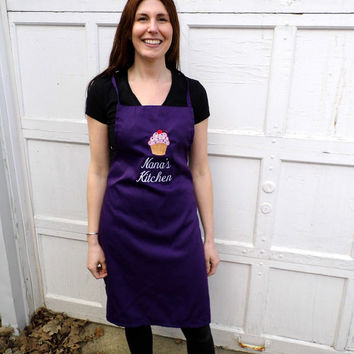 Nana Apron - Grandma Apron -  Cupcake Apron - Embroidered andPersonalized Apron - Kitchen Apron -- Women's Apron - Purple Apron