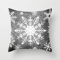 Snowflakes Black And White Throw Pillow by Kathleen Wong