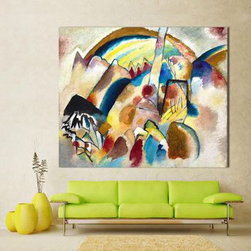 HDARTISAN Abstract Wall Art Pictures For Living Room Home Decor Canvas Painting Wassily Kandinsky Landscape With Red Spots No.2