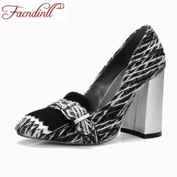 FACNDINLL 2017 retro style autumn women handmade shoes pumps high heels square toe genuine leather shoes woman dress party pumps