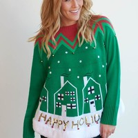 Happy Holidays Ugly Christmas Swing Sweater