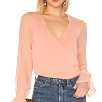 About Us Clarise Wrap Top in Nude | REVOLVE