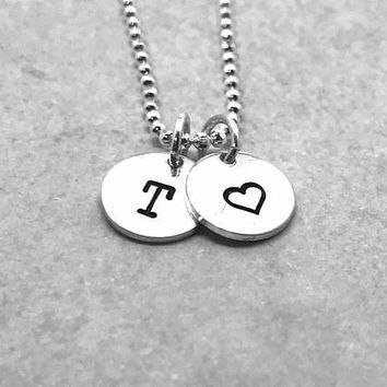 T Initial Necklace with Heart Charm, Sterling Silver, Letter T Necklace, All Letters Available, Hand Stamped Jewelry, Gifts for Her