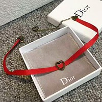 DIOR Women Fashion New Titanium Steel Love Heart Rope Bracelet Red