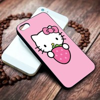 Hello Kitty with strawberry | Cartoon | custom case for iphone 4/4s 5 5s 5c 6 6plus case and samsung galaxy s3 s4 s5 s6 case
