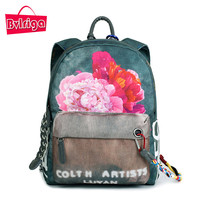 BVLRIGA Women Backpack Floral Printing Travel Back Pack School Bags Backpacks For Teenage Girls School Bag Designer Backpack