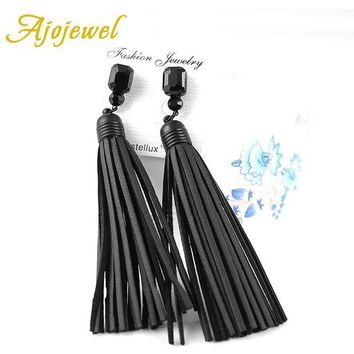 ac spbest Ajojewel Trendy Vintage Black Glass Crystal Long Tassel Designer Handmade Red / Black Leather Earrings For Women