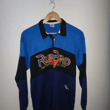 Vintage RUN BIRD The Professional Athletic Gear Rugby Sport Shirt Long Sleeve Shirt Polo