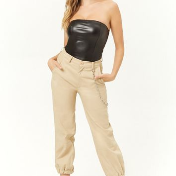 Strapless Faux Leather Bodysuit