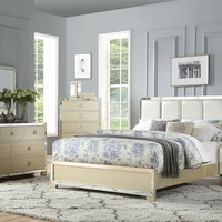 Acme 27130Q 5 pc Voeville II champagne finish wood faux leather padded queen bedroom set