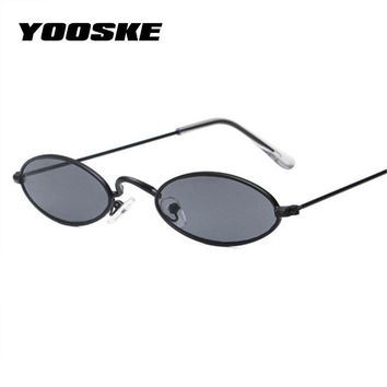 YOOSKE Small Oval Sunglasses Men Male Retro Metal Frame Yellow Red Vintage Tiny Round Skinny Sun Glasses for Women